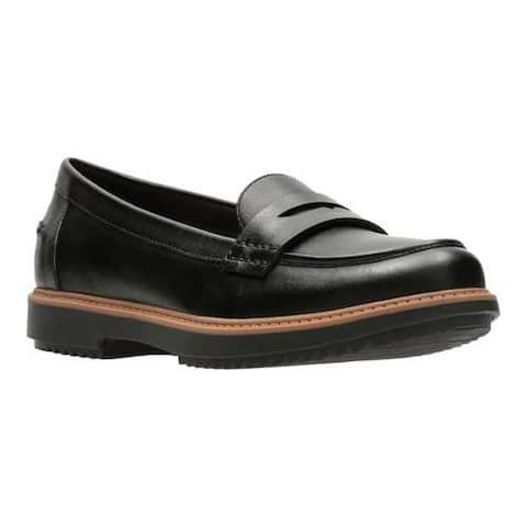 Women's Clarks Raisie Eletta Penny Loafer Black Full Grain Leather