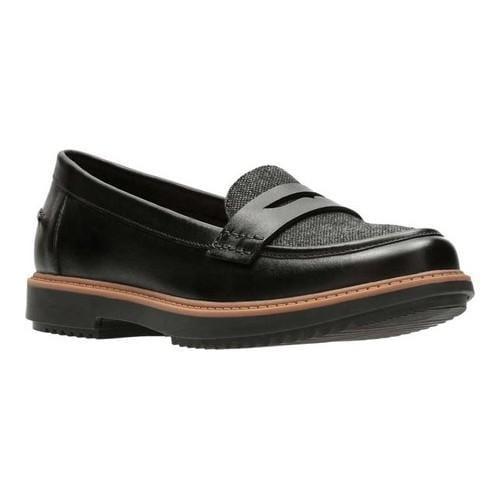 692417de Women's Clarks Raisie Eletta Penny Loafer Black Full Grain Leather/Tweed