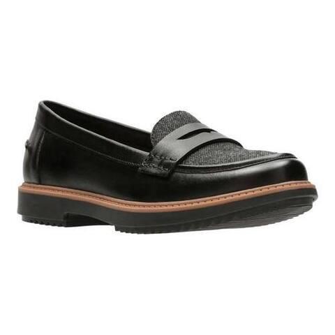 Women's Clarks Raisie Eletta Penny Loafer Black Full Grain Leather/Tweed