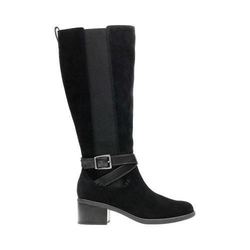 Women's Clarks Nevella March Knee Boot Black Suede/Full Grain Leather  Combination - Free Shipping Today - Overstock.com - 24307808
