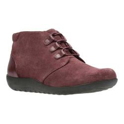 Women's Clarks Medora Sage Chukka Boot Burgundy Suede/Full Grain Leather