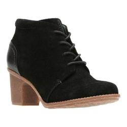 Women's Clarks Sashlin Sue Bootie Black Suede/Full Grain Leather