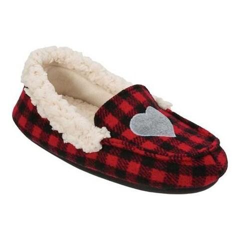 Girls' Dearfoams Holiday Moccasin Slipper Black/Red