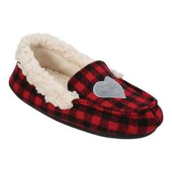 Girls' Dearfoams Holiday Moccasin Slipper Black/Red