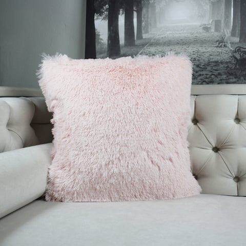 Faux Fur Throw Pillow, Lavender Pink Double-Side Luxury Fluffy Super-Soft Plush Fur Decorative Couch Cushion Pillow 20 x 20 Inch