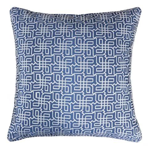 Jacquard Plaid Throw Pillow, Navy Blue Textile Silver Geometric Pattern Decorative Square Couch Cushion Pillow Sham 20 x 20 Inch