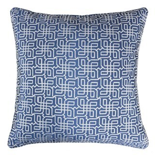 Jacquard Plaid Throw Pillow, Navy Blue Textile Silver Geometric Pattern Decorative Square Couch Cushion Pillow Sham 20 x 20 Inch