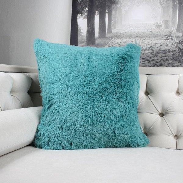 Faux Fur Throw Pillow, Spa Green Double-Side Luxury Fluffy Super-Soft Plush Fur Decorative Couch Cushion Pillow 20 x 20 Inch