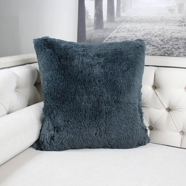 Faux Fur Throw Pillow Metal Gray Double Side Luxury Fluffy Super Soft Plush