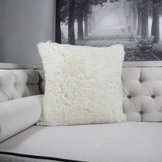 Faux Fur Throw Pillow, Ivory Double-Side Luxury Fluffy Super-Soft Plush Fur Decorative Couch Cushion Pillow 20 x 20 Inch