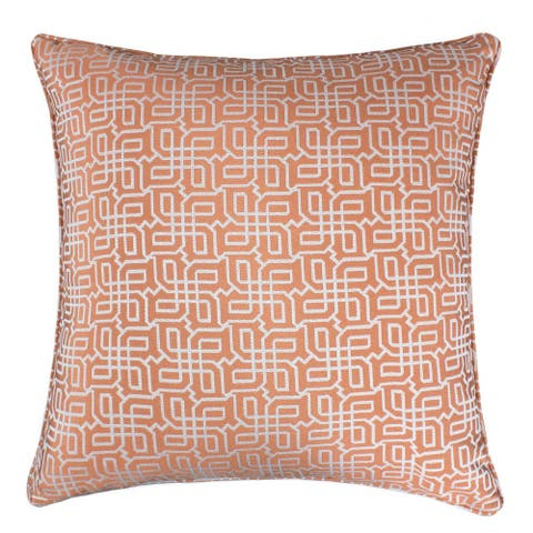 Jacquard Plaid Throw Pillow, Orange Textile Silver Geometric Pattern Decorative Square Couch Cushion Pillow Sham 20 x 20 Inch
