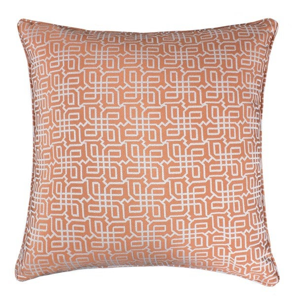 Jacquard Plaid Throw Pillow, Orange Textile Silver Geometric Pattern Decorative Square Couch Cushion Pillow Sham 20 x 20 Inch. Opens flyout.