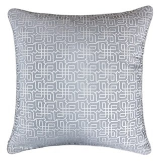Jacquard Plaid Throw Pillow, Gray Textile Silver Geometric Pattern Decorative Square Couch Cushion Pillow Sham 20 x 20 Inch