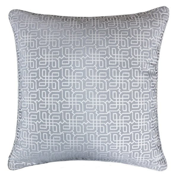Jacquard Plaid Throw Pillow, Gray Textile Silver Geometric Pattern Decorative Square Couch Cushion Pillow Sham 20 x 20 Inch. Opens flyout.