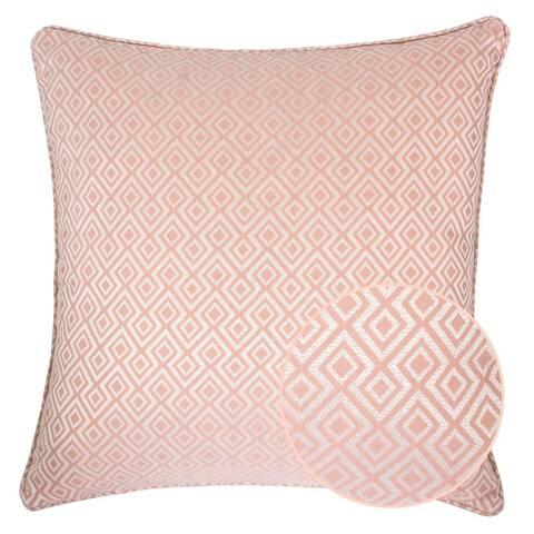 Jacquard Plaid Throw Pillow, Pink Diamond Decorative Square Couch Cushion Pillow Sham 20 x 20 Inch