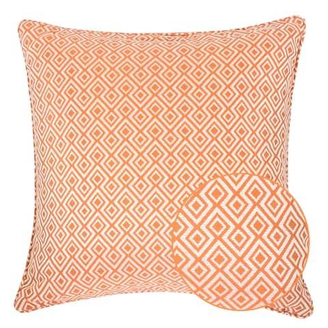 Jacquard Plaid Throw Pillow, Orange Diamond Decorative Square Couch Cushion Pillow Sham 20 x 20 Inch