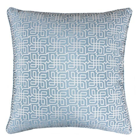 Jacquard Plaid Throw Pillow, Turquoise Textile Silver Geometric Pattern Decorative Square Couch Cushion Pillow Sham 20 x 20 Inch
