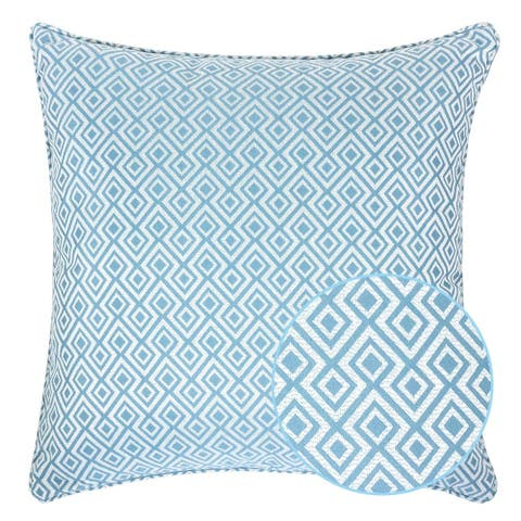Jacquard Plaid Throw Pillow, Turquoise Diamond Decorative Square Couch Cushion Pillow Sham 20 x 20 Inch