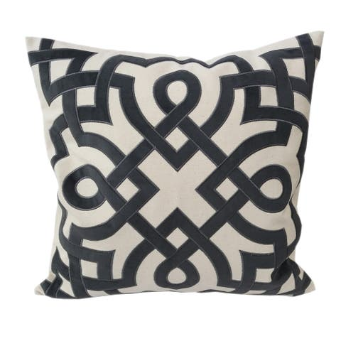 Applique Cotton Throw Pillow, Ivory and Gray Geometric Design Decorative Square Couch Cushion Pillow Case 20 x 20 Inc