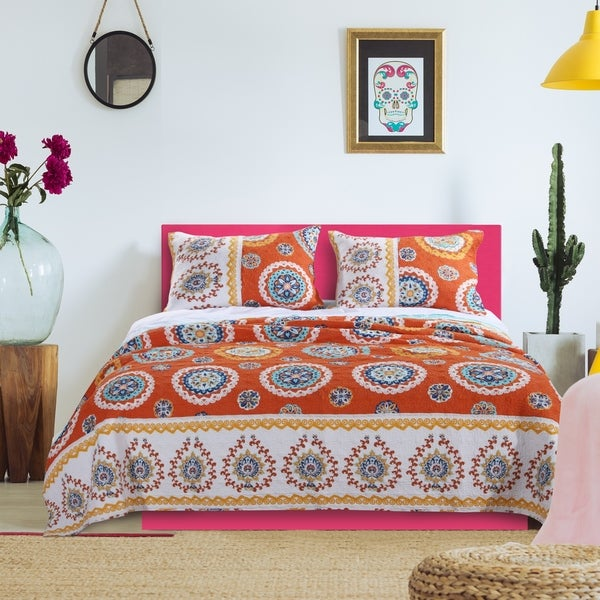 Barefoot Bungalow Rozario Tangerine Quilt Set