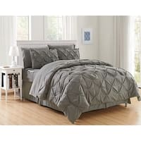 Elegant Comfort 8-Piece Bed-in-a-Bag Pintuck Comforter Set
