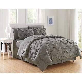 Elegant Comfort 8-Piece Bed-in-a-Bag Pintuck Comforter Set