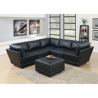 Malaga 6-Piece Modular Sectional Sofa Set in Black Bonded Leather
