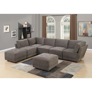 Granada 7-Piece Modular Sectional Sofa Set Upholstered in Charcoal Waffle Suede