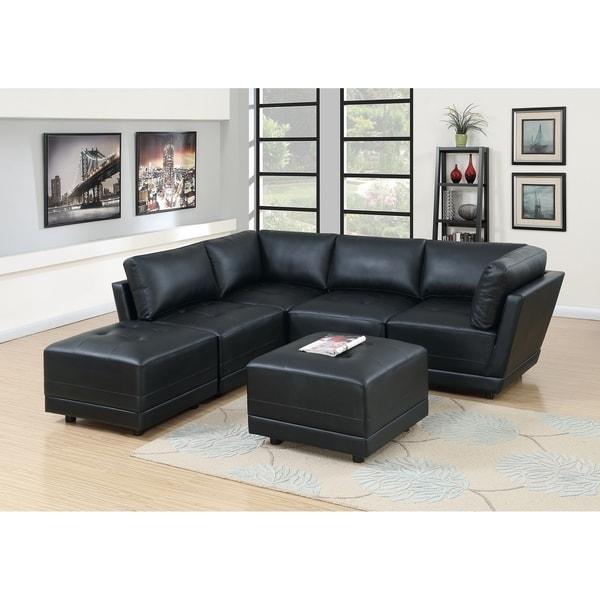 Shop Bergen 6-Piece Black Bonded Leather Modular Sofa Set