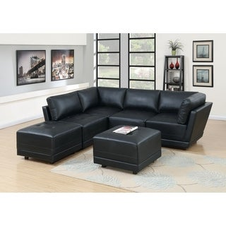 Bergen 6-Piece Black Bonded Leather Modular Sofa Set