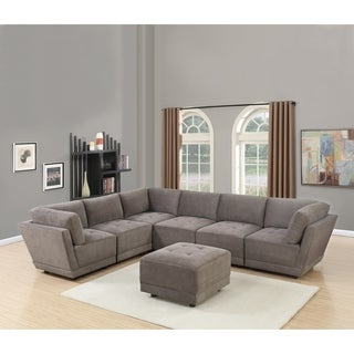 Bochum 7-Piece Modular Sofa Upholstered in Charcoal Waffle Suede