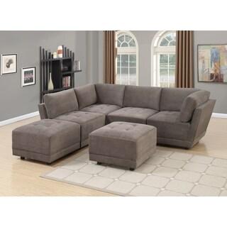 Granada 6-Piece Modular Design Sofa Set in Charcoal Waffle Suede
