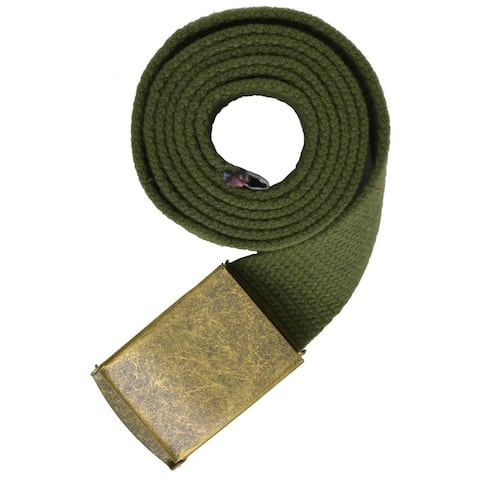 AFONiE - Gold Buckle Long Adjustable Canvas Belt for Men