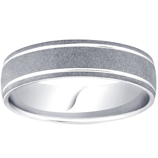 Pompeii3 Palladium 6MM Brushed Mens Wedding Band - White