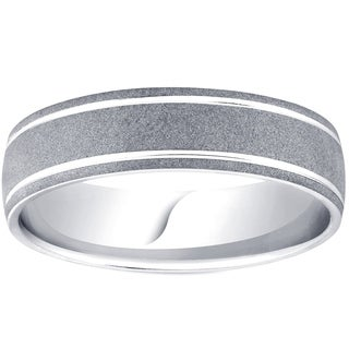 Bliss Palladium 6MM Brushed Mens Wedding Band - White