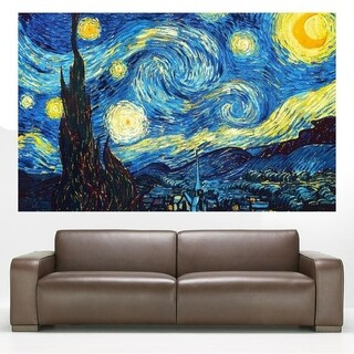 "Van Gogh Night Full Color Wall Decal Sticker AN-655 FRST Size 20""x31"""