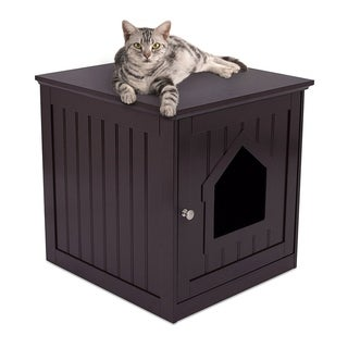 Internet's Best Decorative Cat House & Side Table | Cat Home Nightstand | Indoor Pet Crate | Litter Box Enclosure (Espresso)