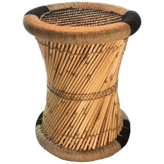 Natural Geo Moray Decorative Handwoven Striped Jute Accent Stool