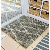 """Natural Geo Fuzzy Dirty Gray Area Rug with Padding - 2'4"""" x 2'10"""""""