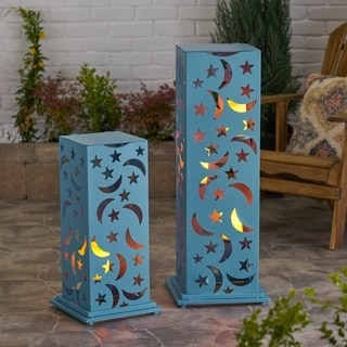 Romeo Outdoor Cutout Lantern (Set of 2) by Christopher Knight Home