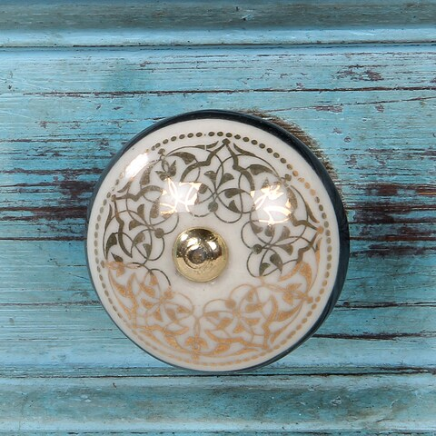 Birch Cabinet Novelty Ceramic Knobs (Set of 6) Decorative hand-painted knobs-Luxe Collection by Decoriny