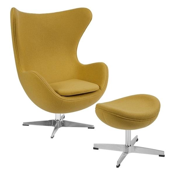 Shop Offex Citron Wool Fabric Egg Chair With Tilt Lock
