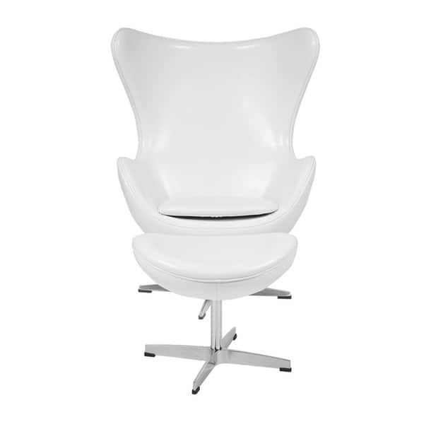 De Egg Chair.Shop Offex Melrose White Leather Egg Chair With Tilt Lock