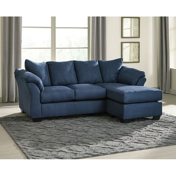 Remarkable Offex Signature Design By Ashley Darcy Sofa Chaise In Blue Microfiber Dailytribune Chair Design For Home Dailytribuneorg