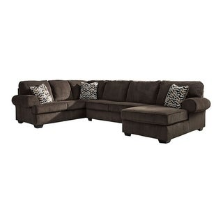 Offex Signature Design by Ashley Jinllingsly 3-Piece LAF Sofa Sectional in Chocolate Corduroy
