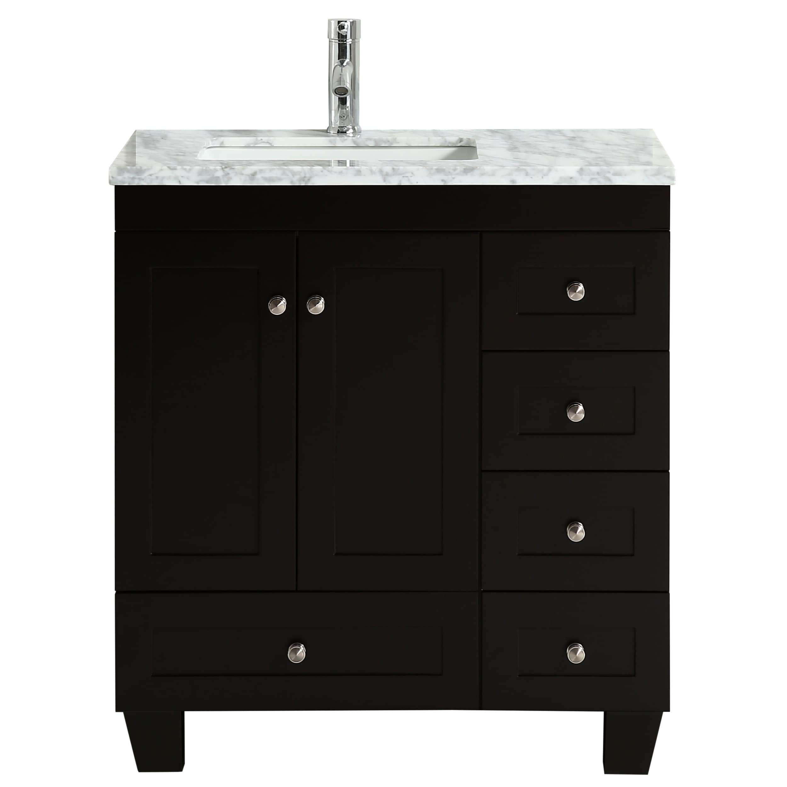 Eviva Happy 30 Inch X 18 Inch Espresso Transitional Vanity With White Carrara Marble Countertop And Undermount Porcelain Sink Overstock 20817210