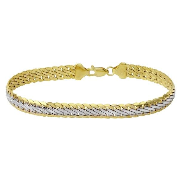 14k Italian White And Yellow Gold Fancy Stamp Bracelet 75