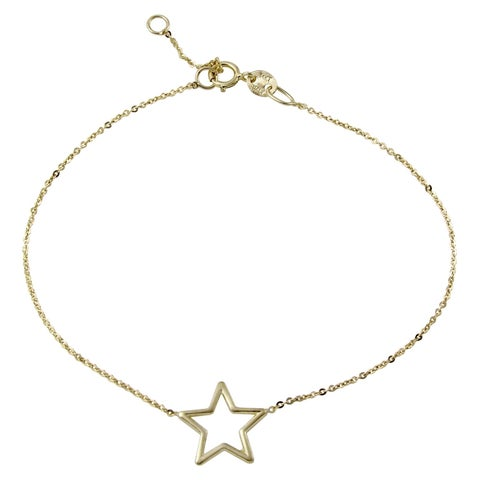 "14k Italian Yellow Gold Star Bracelet, Adjustable 6.75"" to 7.25"""