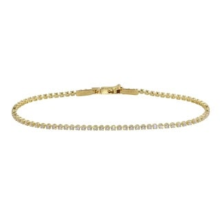 "14k Yellow Gold CZ Round Brilliant Classic Style Eternity Tennis Bracelet, 7.25"""