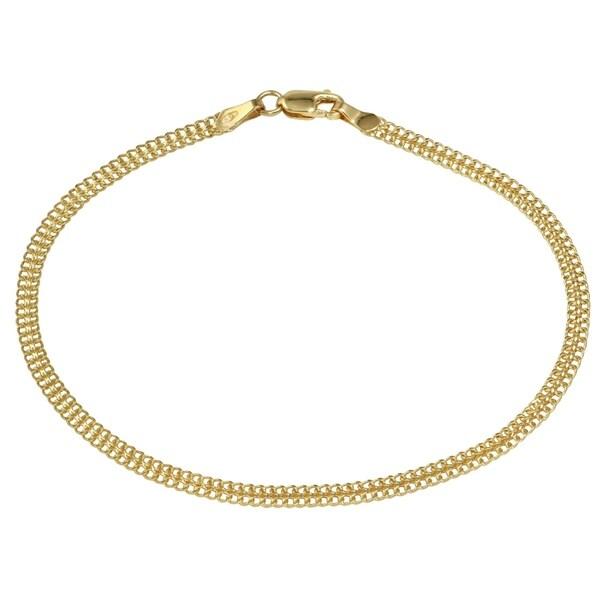 14k Italian Yellow Gold Stamp Link Ladies Bracelet 75